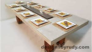 dining table center dr dt1 concrete top dining table with center cutout and teak legs