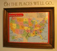 World Map Cork Board by I Glued A Map To Cork Board And Then Framed It We Used Push Pins