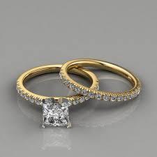 14k wedding band 14k pave cut engagement ring wedding band set puregemsjewels