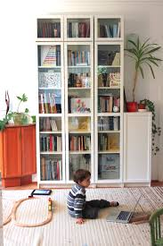 White Bookcases With Doors by We Were Looking For Mid Height Bookcases With Glass Doors For Our