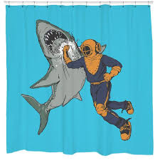 Unique Shower Curtains Shark Punch Shower Curtain Sharp Shirter