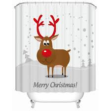 Deer Shower Curtains Bath Curtain For Bathroom Custom Funny Christmas Shower Curtain 3d