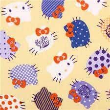 light yellow kitty cute face fabric kokka kitty