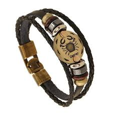 leather bracelet fashion images Zodiac signs in bronze on leather bracelets rebel chic jewelry jpg