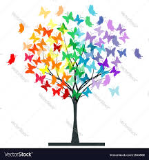 butterflies rainbow tree royalty free vector image
