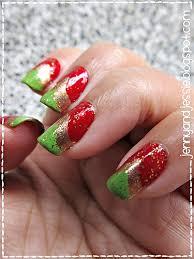 us three girls christmas nail art red green and gold