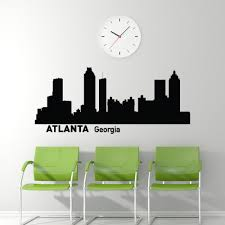 dorm room decals etsy atlanta skyline wall decal cityscape city silhouette removable art decals murals home decor for living