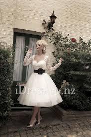 teacup wedding dresses tea length flower sleeve lace and tulle ivory bridal dress