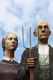 i started my grant wood tour on thursday with two main goals visit the bless america sculpture inspired by wood s famous american gothic painting at