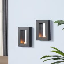 Mirror With Candle Sconces Danya B Black Metal Frame Tealight Candle Sconces With Mirror Set
