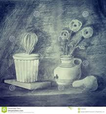 Pencil Sketch Of Flower Vase Pencil Drawing Shadows Stock Illustration Image 44393302