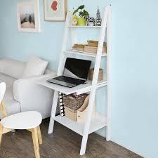 bureau echelle bureau table étagère murale style échelle de 3 tablettes 1 plan de