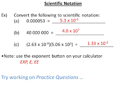 working with scientific notation scientific notation conversions and significant digits ppt