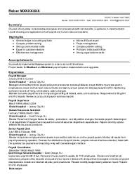 Sample Payroll Resume by Resume