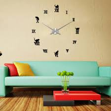 novelty diy large wall cat clock 3d mirror surface sticker home