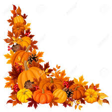 corner background with pumpkins and autumn leaves royalty free