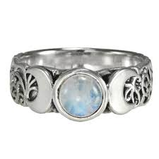 wiccan engagement rings crescent moon goddess rainbow moonstone ring sterling