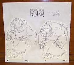 disney mulan grandma fa sketch signed concept art original drawing
