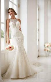 wedding dresses high high neck wedding dress with lace beading stella york