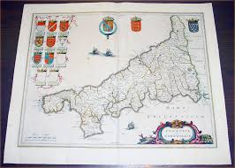 Cornwall England Map by 1637 Blaeu Antique Map The English County Of Cornwall U2013 Classical