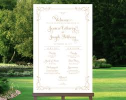 wedding program sign wedding program sign bridal poster welcome sign