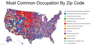 Zip Code Maps by These Maps Show The Most Common Jobs In Each Zip Code Huffpost