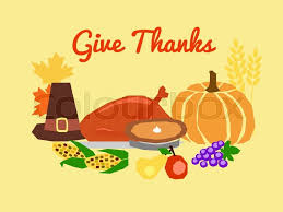 horizontal vector card with traditional thanksgiving day symbols