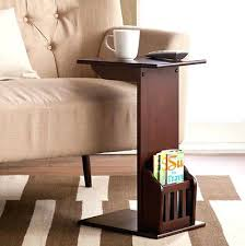side table sofa side snack table white finish chrome chairside