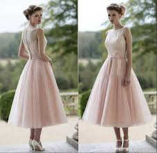 vintage dusty pink tea length bridesmaid dresses illusion neckline