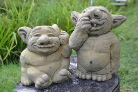 pair of trolls garden ornaments