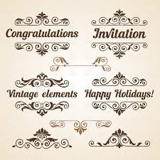 vintage design curly vintage design elements with text vector clipart image