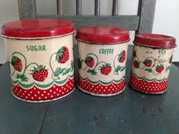 antique canisters kitchen antique wolverine tin canisters strawberry design 1940s