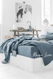 Linen Bedding Sets Grey Blue Linen Duvet Cover Magiclinen