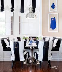 Black And White Striped Dining Chair Black And White Breakfast Nook Cottage Dining Room