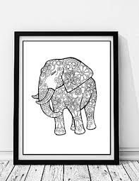 elephant coloring print color nature flowers