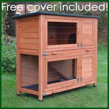 Rabbit Hutch Wood Rhl Large Rabbit Hutch And Run Free Cover Included Feel Good Uk