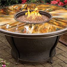Fire Pit With Glass by Tioga Outdoor Gas Fire Pit Table With Stained And Sealed Glass Top