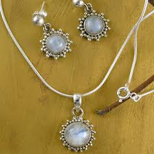 silver pendant necklace set images Good fortune sterling silver pendant moonstone jewelry set jpg