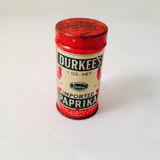 vintage durkee u0027s paprika 1 oz round tin rustic by missenpieces on