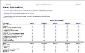 Matrix Worksheets Agency Selection Matrix Template U2013 Clickstarters