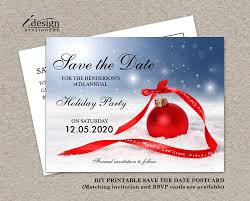 Christmas Party Invitations With Rsvp Cards - christmas party save the date card diy printable corporate