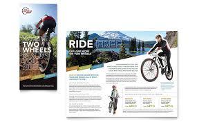 bike rentals u0026 mountain biking tri fold brochure template design