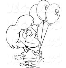 vector of a cartoon birthday holding three balloons