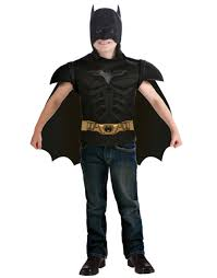 batman muscle shirt headpiece and cape child halloween costume