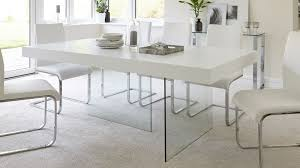 White And Oak Dining Table Eye Catching Modern White Oak Dining Table Glass Legs Seats 6 8 Of