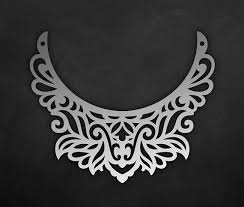 leather bib necklace images Ornamental leather bib necklace template vector laser cut jpg