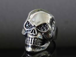 silver rings skull images Phantom skull black diamond 925 sterling silver ring for men jpg