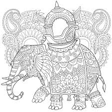 zentangle stylized cartoon elephant with paisley and mehndi