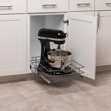 kitchen cabinet storage solutions lowes simply put 14 5 in w x 5 6875 in h 1 tier pull out metal soft baskets organizers