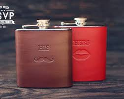 his and hers flasks custom woodgrain leather flask wood pattern handmade